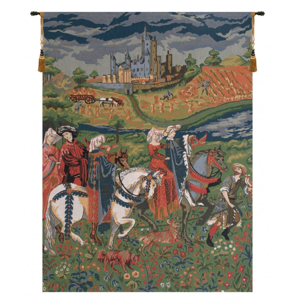 The Falcon Hunt Duke of Berry European Wall Hanging Tapestry