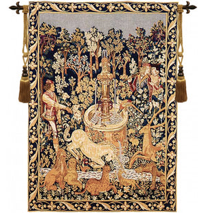 Gold Licorne A La Fontaine French Tapestry