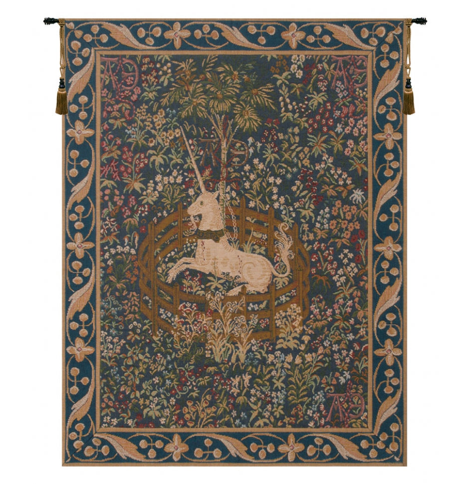 Blue Licorne Captive French Decor Wall Tapestry