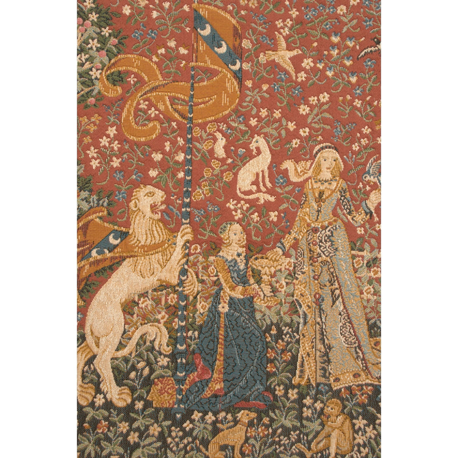 Large Red Lady and the Unicorn Taste Wall Tapestry