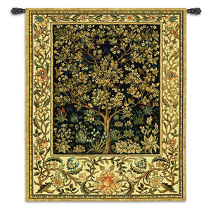 Blue Tree of Life Symbolic Textile Tapestry