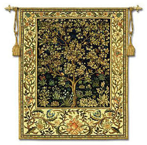 tree of life tapestry in blue