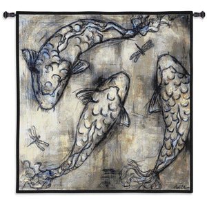 Koi Fish The Circle Woven Wall Textile Hanging