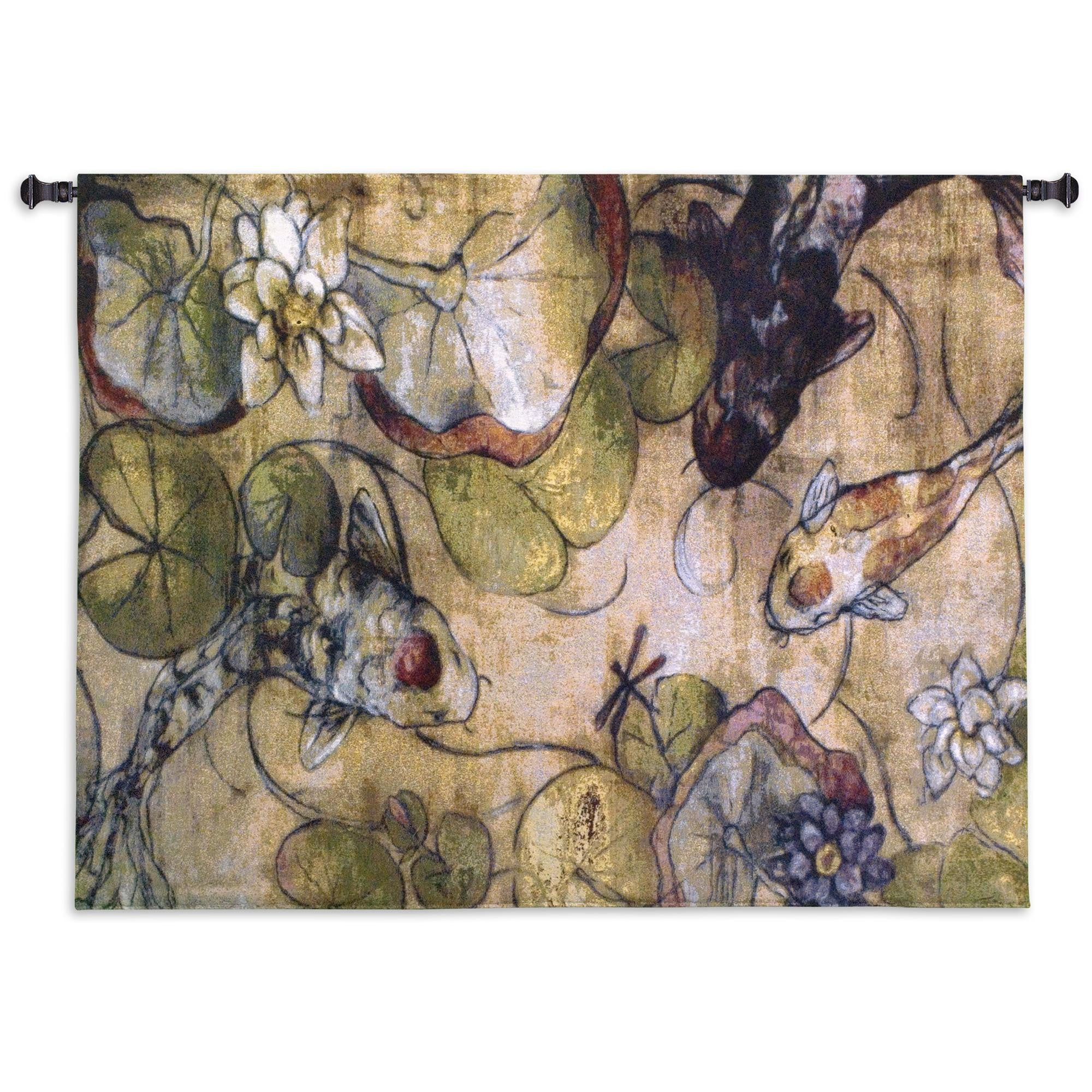 Koi Fish The Meeting Woven Tapestry