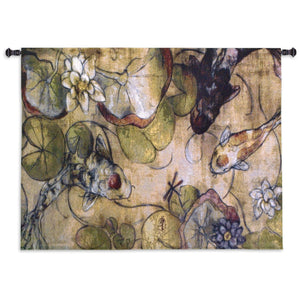 Koi Fish The Meeting Woven Tapestries