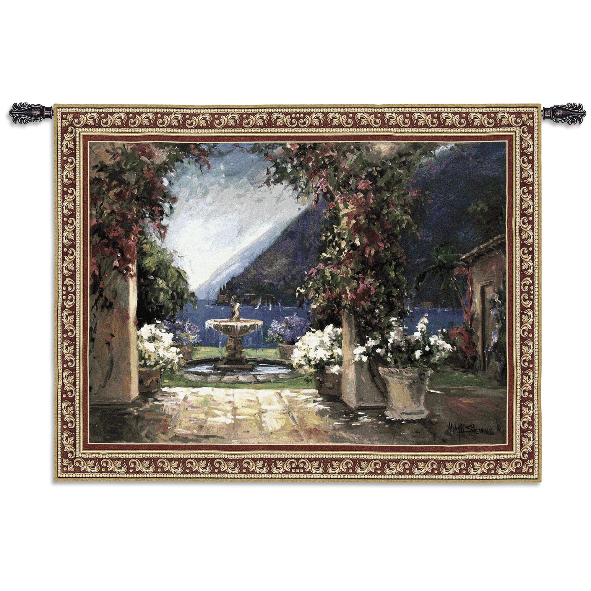 Seaside Scenic Fountain Textile Tapestry