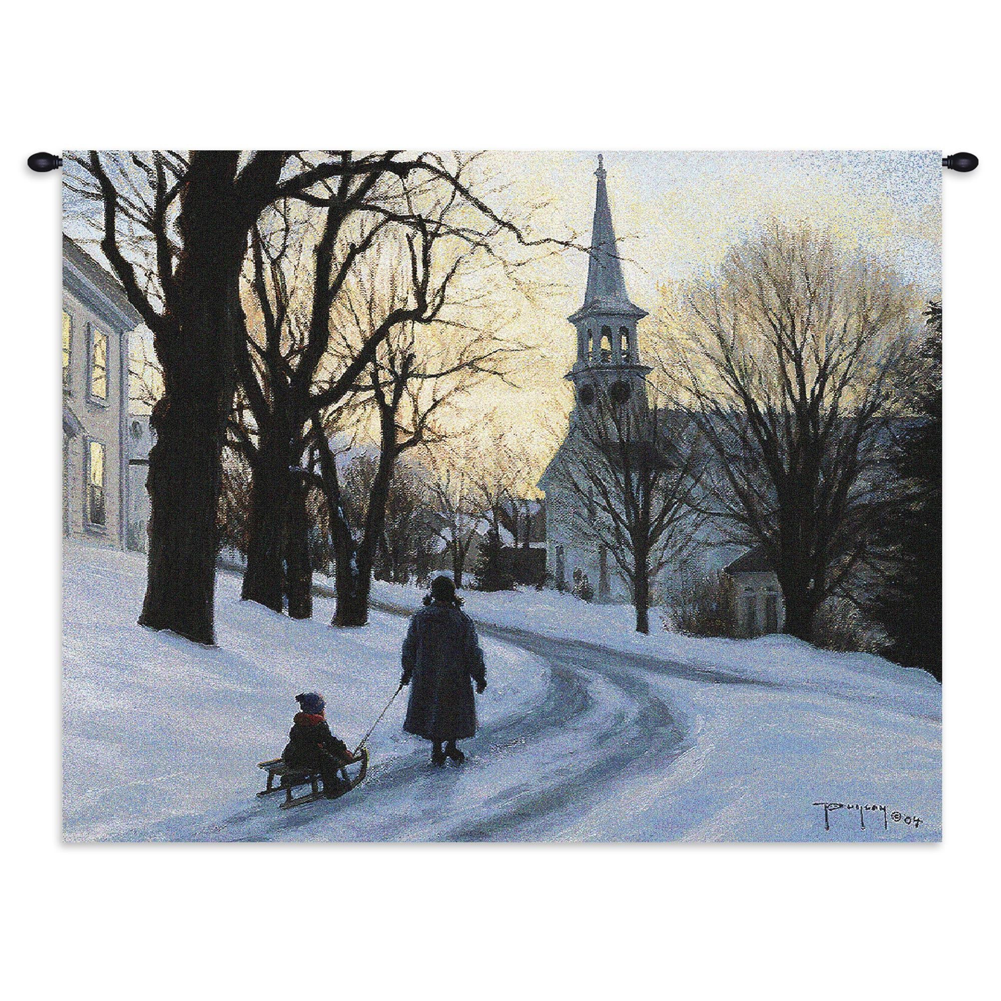 Winters Eve Hand Finished European Style Jacquard Woven Wall Tapestry