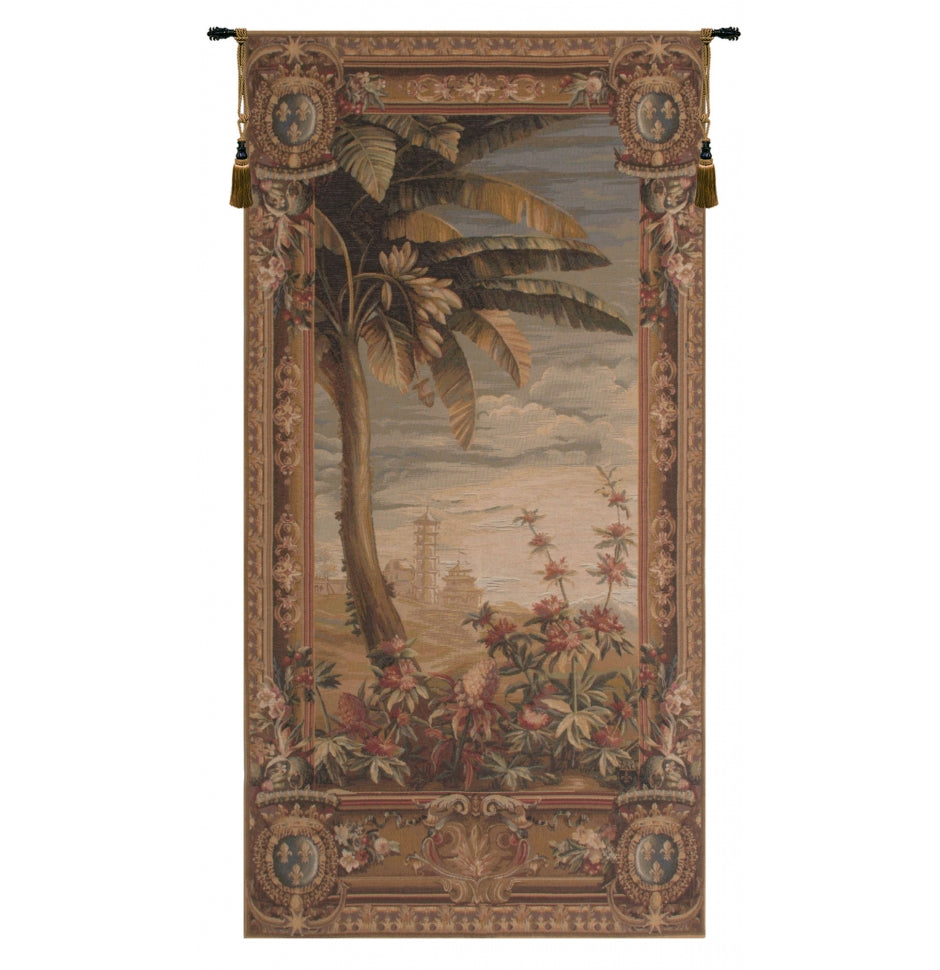 Green La recolte des ananas pagoda door French Decor Wall Tapestry