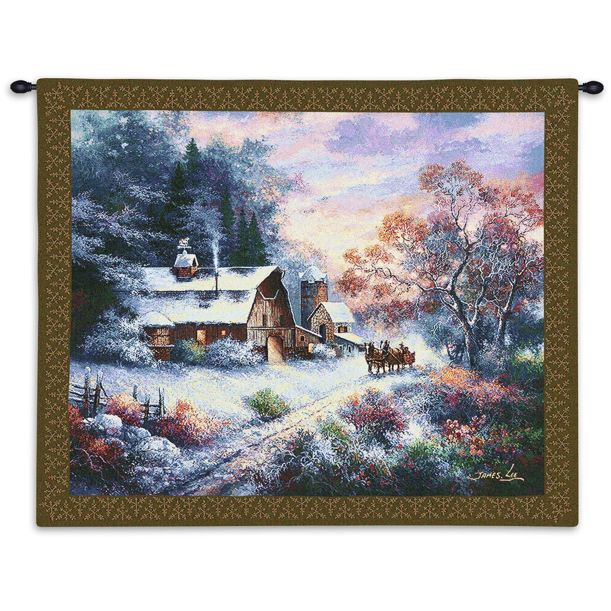 Snowy Evening Christmas Woven Tapestry