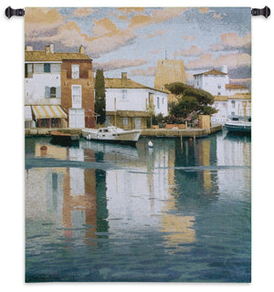 Harbor at Morning Light Coastal Woven Tapestry Decor