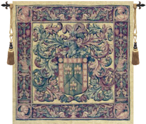 Large Green Crest and Fleur Belgian Wall Hanging Tapestry