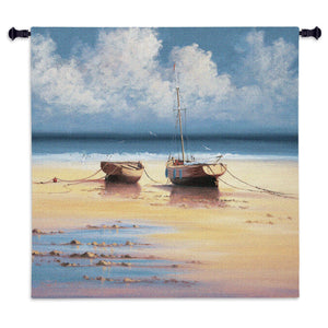 Nautical Ships Beach Woven Tapestry Wall Hanging