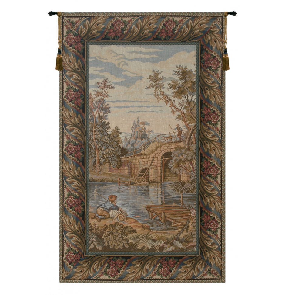 Fishing at the Lake Vertical Italian Wall Hanging Tapestry