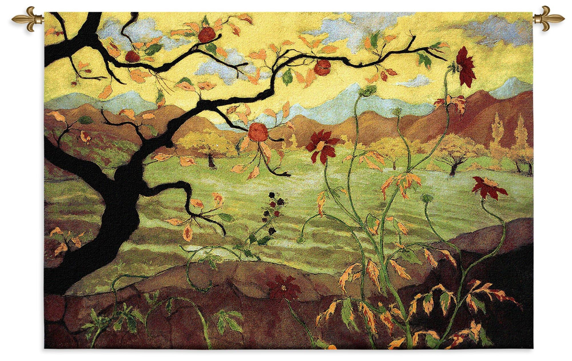 Apple Tree with Red Fruit Wall Tapestry