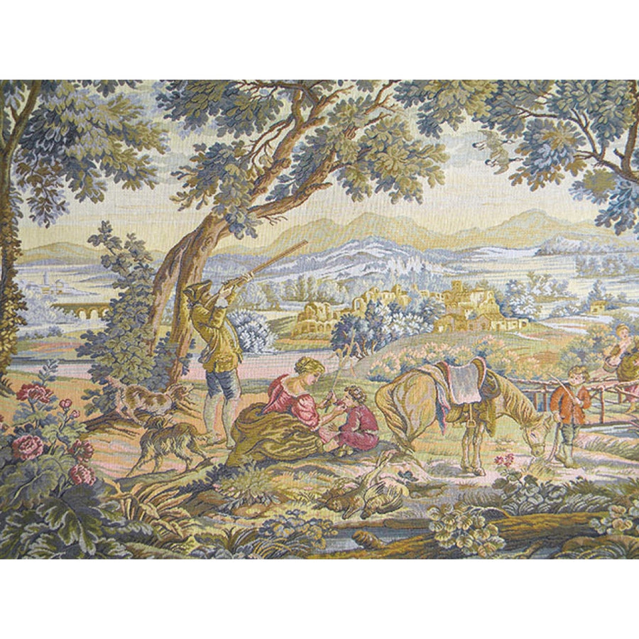 Beige The Hunting Trip Italian Wall Hanging Tapestry