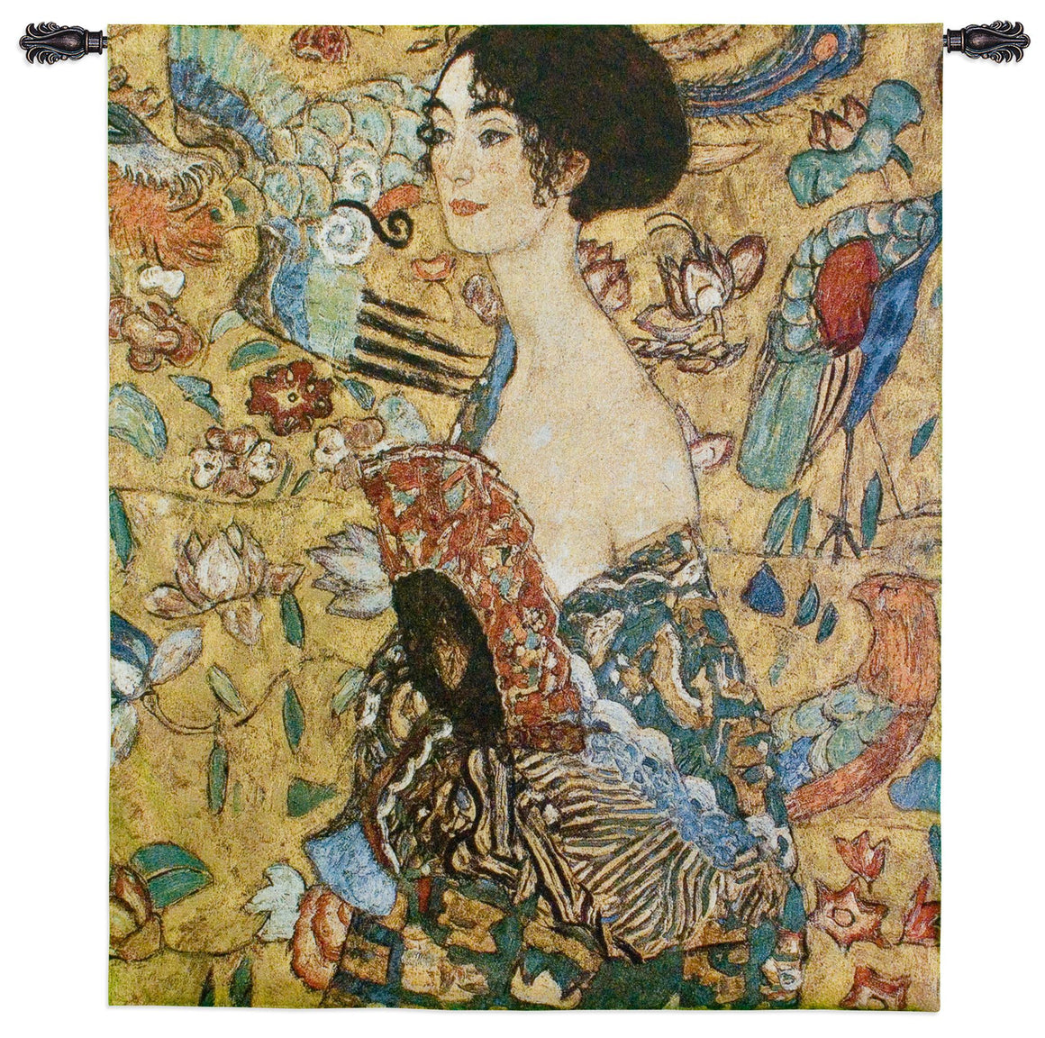 Lady with Fan by Klimt Tapestry Wall Hangings