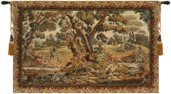 Brown Hunters Resting Italian Wall Hanging Tapestry