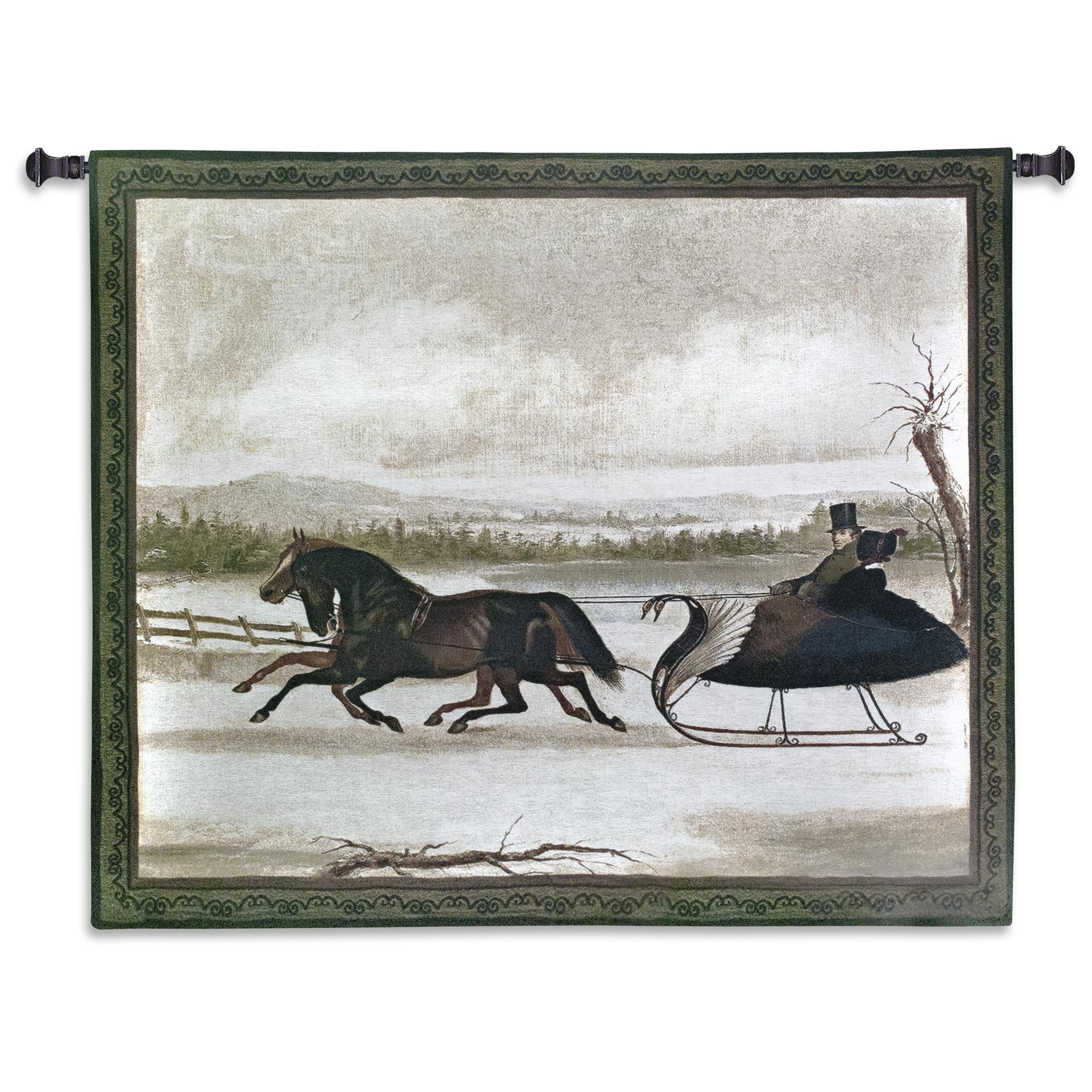 Santa Sleigh Ride Winter Scene Wall Hanging