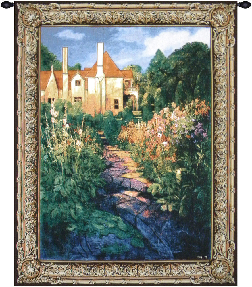 Green Garden Walk at Sunset Wall Art Tapestry
