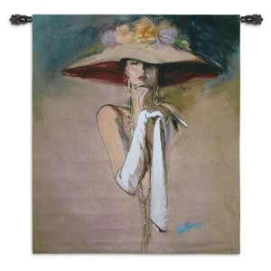 woman white gloves wall hanging tapestries