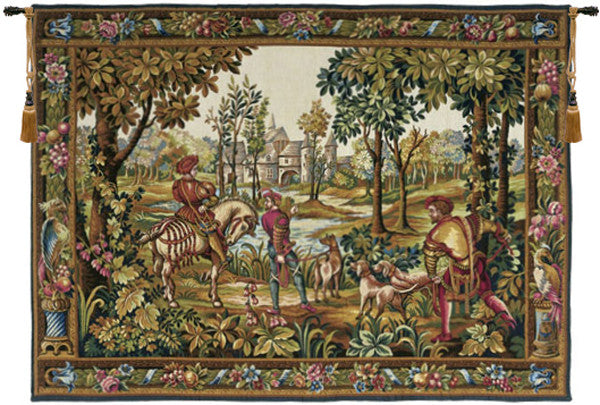 Green Retour de Chase French Wall Hanging Tapestry