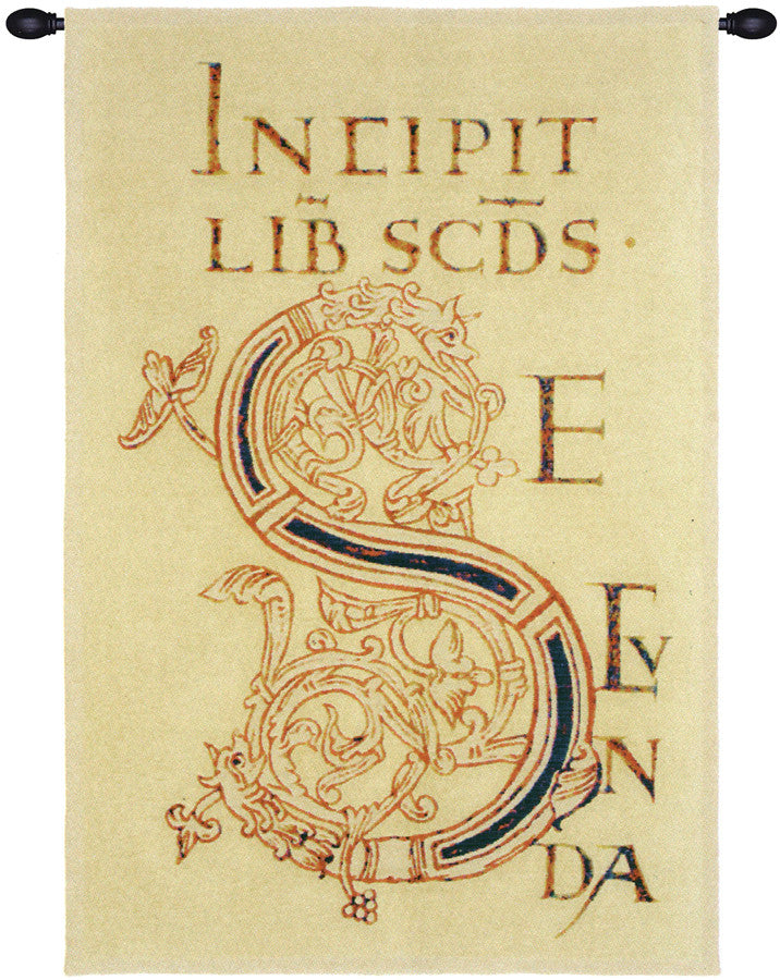 Yellow Medieval Latin Phrase Wall Hanging Tapestry