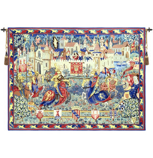 Blue Camelot and King Arthur Medieval Wall Hanging