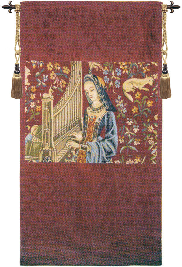 Lady with the Organ French Wall Hanging Tapestry
