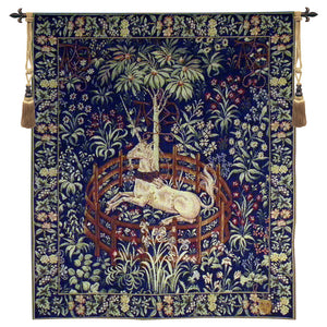 Blue La Licorne Captive French Wall Hanging Tapestry