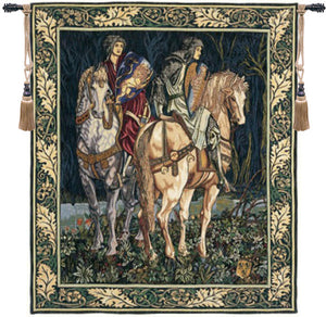 Green Les Chevaliers French Hanging Wall Tapestry