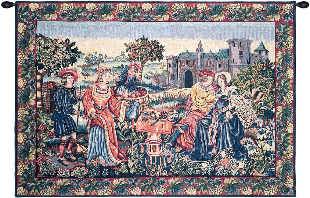 Blue Repas de Vendanges Vintage French Wall Hanging Tapestry