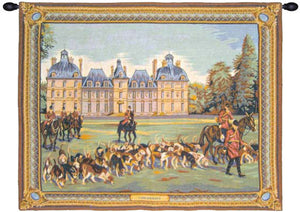 Blue Cheverny Castle French Wall Hanging Tapestry
