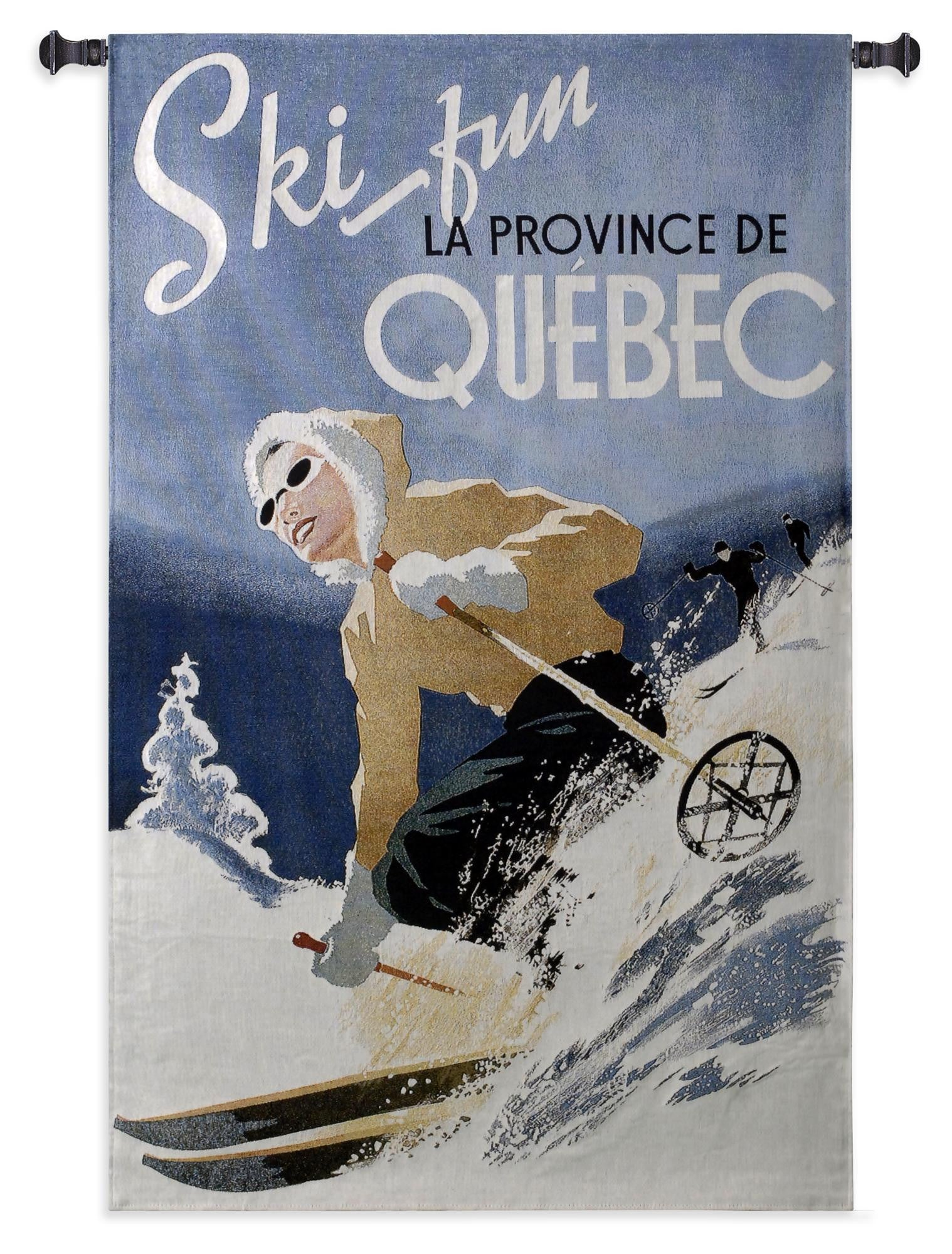 Ski Quebec Winter Textile Tapestry