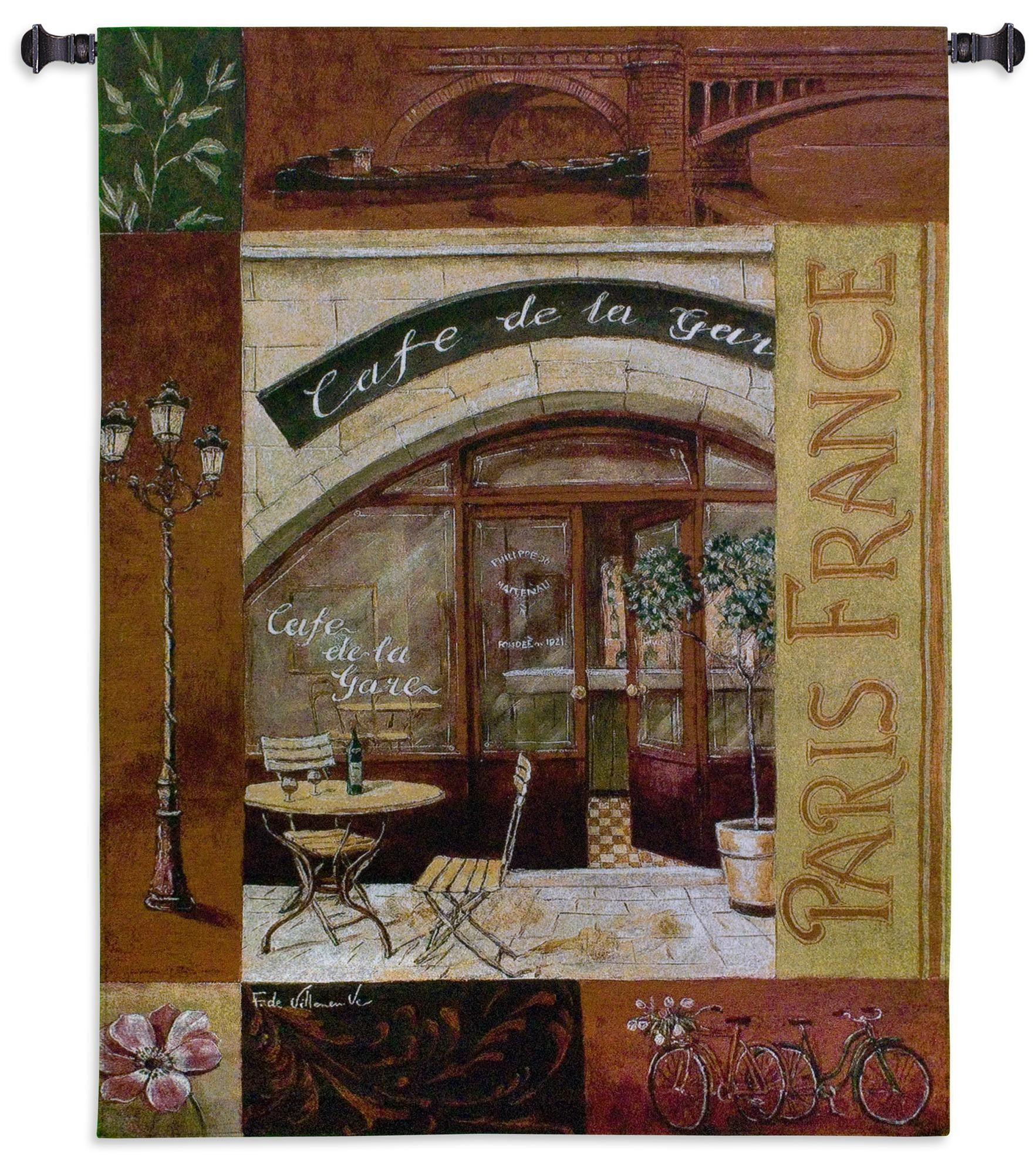 Parisian Cafe Textile Wall Hanging