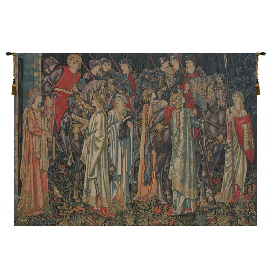 Blue Group of Knights Quest for the Holy Grail Wall Hanging Tapestry
