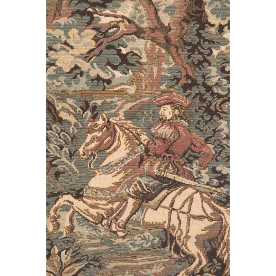 Large Green Woven Cotton Wall Hangings with Scenes of Hunters