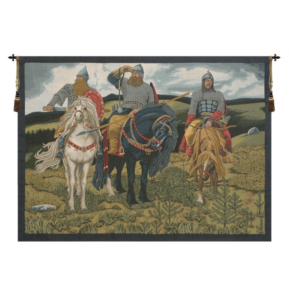 Green Knights the Bogatyrs Italian Wall Hanging Tapestry