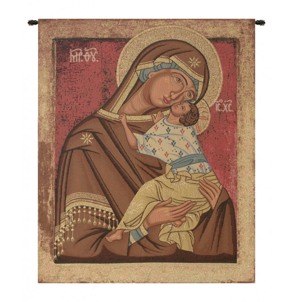 Brown Icon Madonna Italian Wall Hanging Tapestry