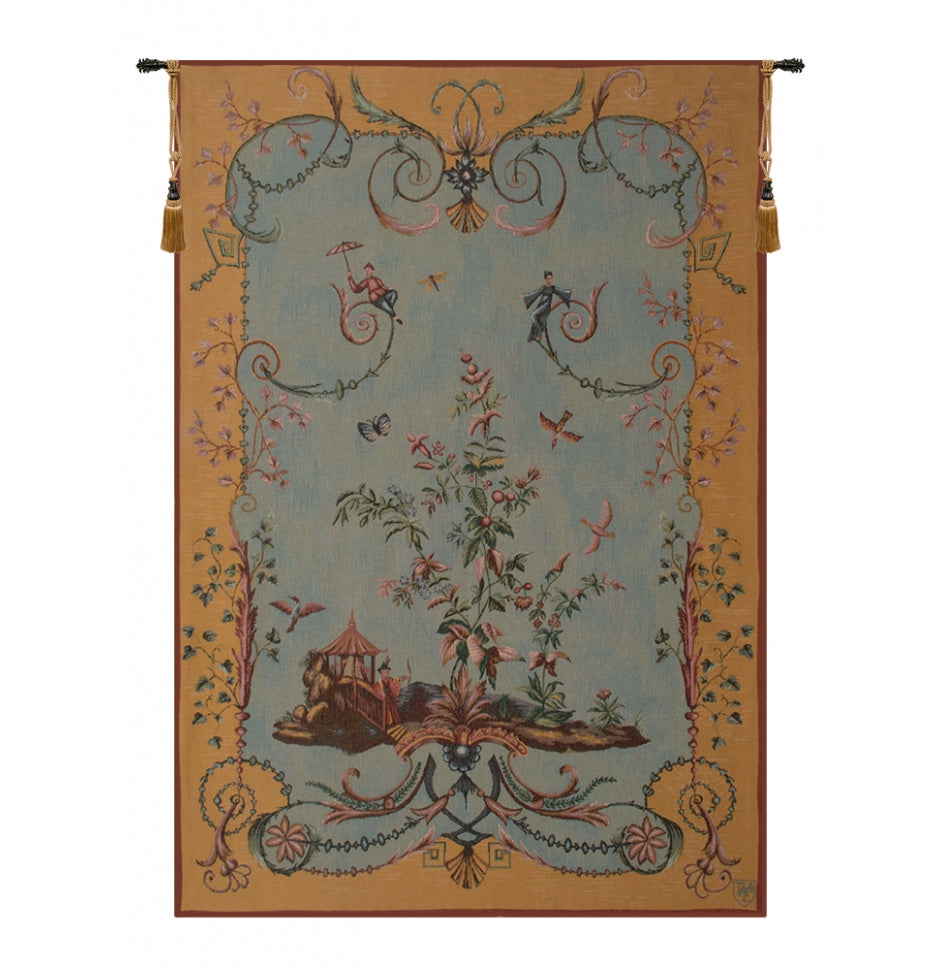 Blue Chinoiseries II French Decor Wall Tapestry