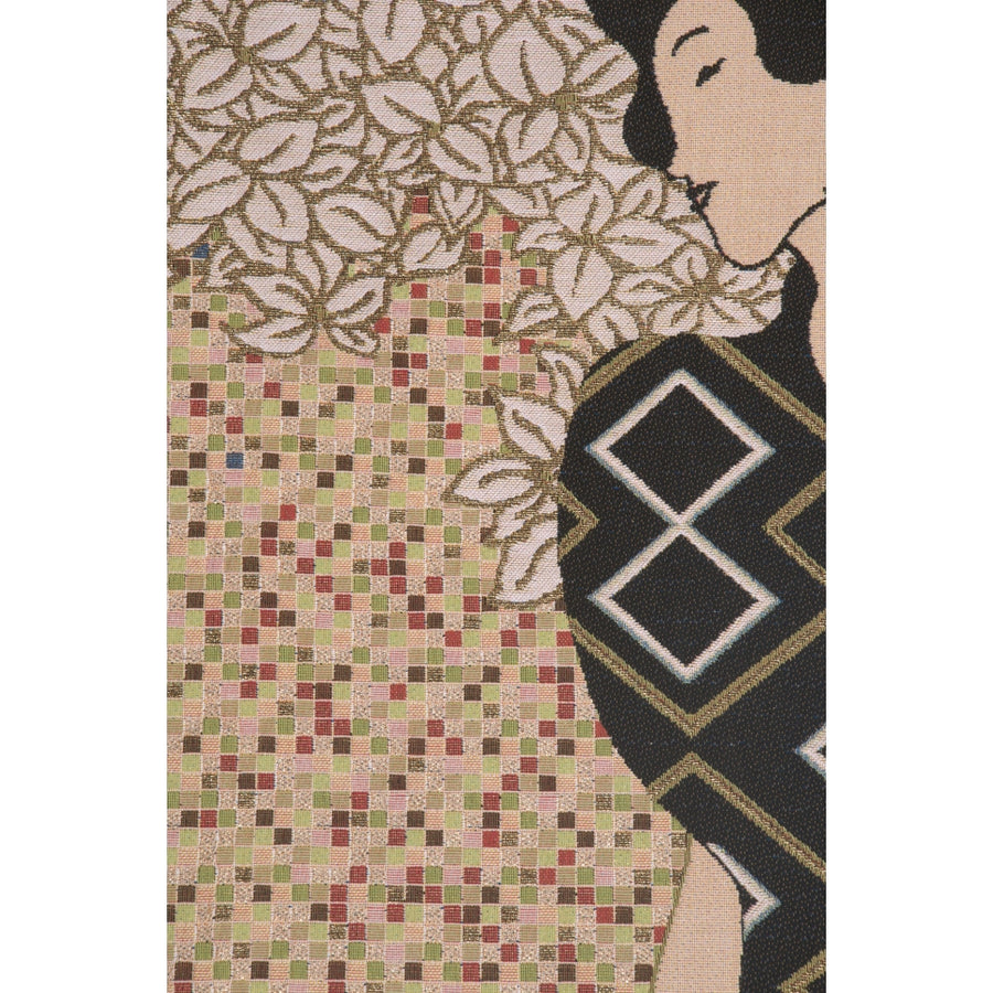 Beige Klimt Silhouettes French Decor Wall Tapestry