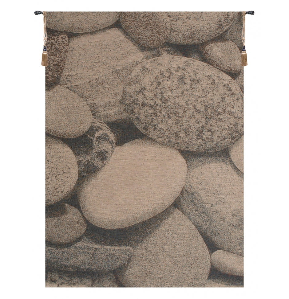 White Pebbles French Decor Wall Tapestry