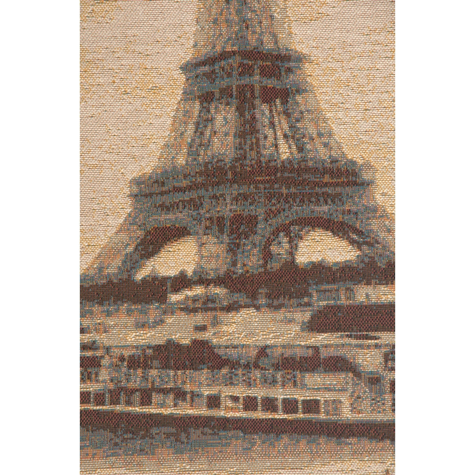 Cream Eiffel Tower Paris Woven Textile Art