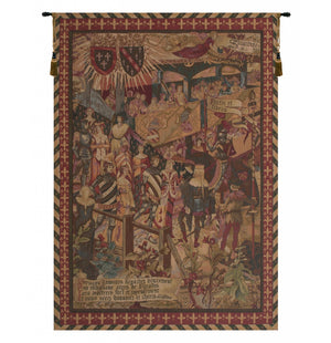 Red Le Tournai Vertical French Decor Wall Tapestry