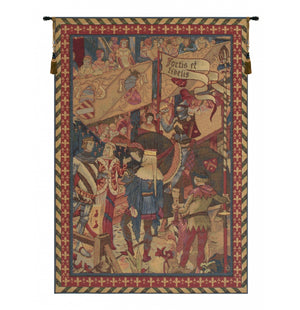 Red Le Tournai I Vertical French Decor Wall Tapestry