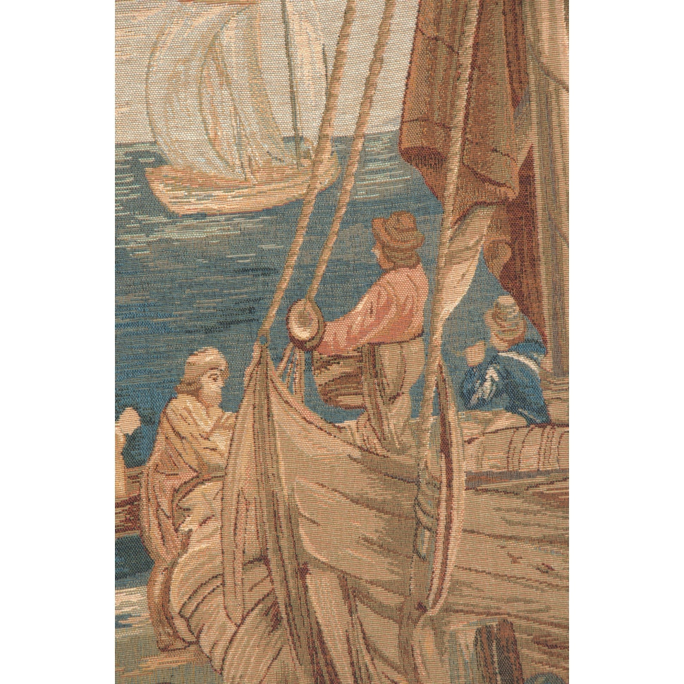 Blue Textile Nautical Woven for Hanging