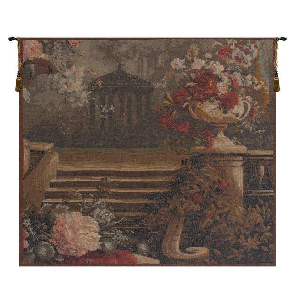 Bouquet at the Gazebo French Woven Tapestry