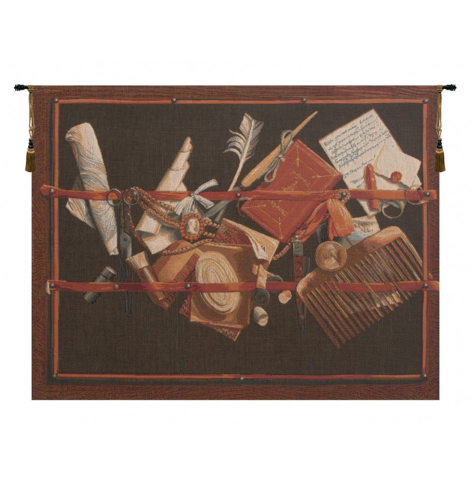 Black Office of Curiosities French Decor Wall Tapestry