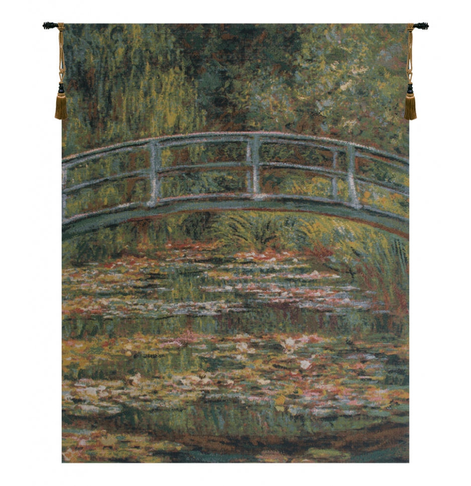 Japanese Bridge Gold I European Hanging Wall Tapestry