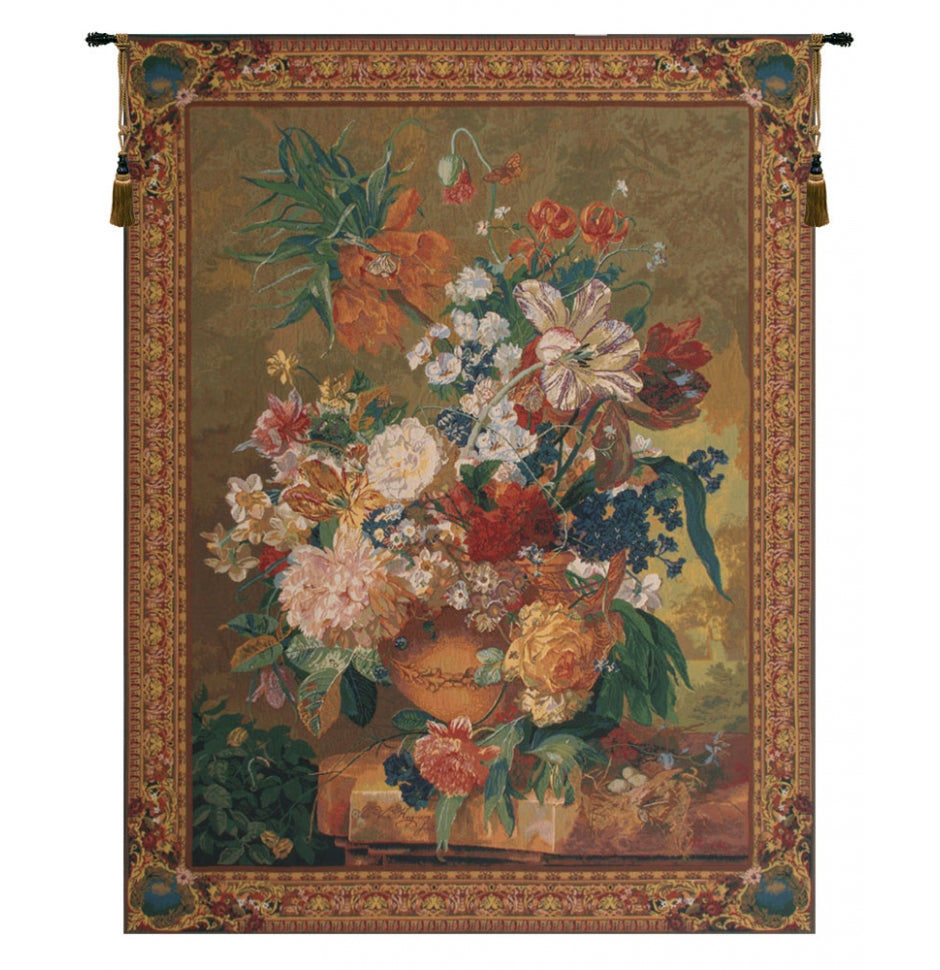 Terracotta Floral Bouquet Green European Hanging Wall Tapestry