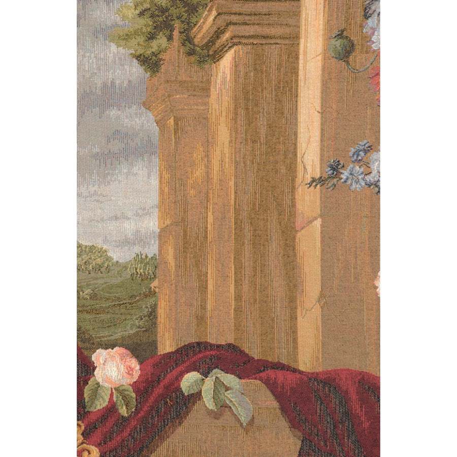 Bouquet Et Architecture Horizontal French Wall Tapestry
